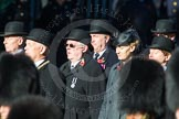 Remembrance Sunday Cenotaph March Past 2013: Trustees of the Royal British Legion leading the March Past.. Press stand opposite the Foreign Office building, Whitehall, London SW1, London, Greater London, United Kingdom, on 10 November 2013 at 11:38, image #12