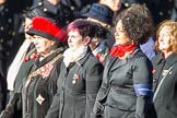Remembrance Sunday Cenotaph March Past 2013: D1 - War Widows Association. On the left, with the red fur round her hat, is WWA President Baroness Janet Fookes. In the centre is the Chairman of the RAF Widows Association, on the right the Chairman of the Army Widows Association.. Press stand opposite the Foreign Office building, Whitehall, London SW1, London, Greater London, United Kingdom, on 10 November 2013 at 11:38, image #19
