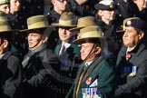 Remembrance Sunday Cenotaph March Past 2013: D2 - British Gurkha Welfare Association.. Press stand opposite the Foreign Office building, Whitehall, London SW1, London, Greater London, United Kingdom, on 10 November 2013 at 11:38, image #37