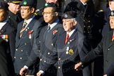 Remembrance Sunday Cenotaph March Past 2013: D10 - Hong Kong Military Service Corps.. Press stand opposite the Foreign Office building, Whitehall, London SW1, London, Greater London, United Kingdom, on 10 November 2013 at 11:39, image #82