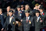 Remembrance Sunday Cenotaph March Past 2013: A32 - Royal East Kent Regiment (The Buffs) Past & Present Association.. Press stand opposite the Foreign Office building, Whitehall, London SW1, London, Greater London, United Kingdom, on 10 November 2013 at 11:58, image #1282
