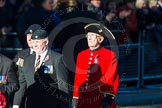Remembrance Sunday Cenotaph March Past 2013: B3 - Royal Dragoon Guards with Chelsea Pensioner IP Sam Cameron.. Press stand opposite the Foreign Office building, Whitehall, London SW1, London, Greater London, United Kingdom, on 10 November 2013 at 11:59, image #1317