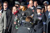 Remembrance Sunday Cenotaph March Past 2013: M33 - Ministry of Defence.. Press stand opposite the Foreign Office building, Whitehall, London SW1, London, Greater London, United Kingdom, on 10 November 2013 at 12:12, image #2123