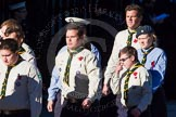 Remembrance Sunday Cenotaph March Past 2013: M49 - Scout Association.. Press stand opposite the Foreign Office building, Whitehall, London SW1, London, Greater London, United Kingdom, on 10 November 2013 at 12:15, image #2258