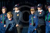 Remembrance Sunday Cenotaph March Past 2013: M52 - Girls Brigade England & Wales.. Press stand opposite the Foreign Office building, Whitehall, London SW1, London, Greater London, United Kingdom, on 10 November 2013 at 12:15, image #2293