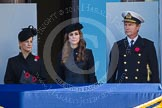 HRH The Countess of Wessex ,HRH The Duchess of Cambridge, Vice Admiral Sir Tim Laurence  on one of the balconies of the Foreign- and Commonwealth Office building.