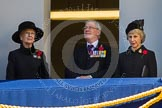 HRH Princess Alexandra, the Hon.Lady Ogilvy, THR The Duke and Duchess of Gloucester on one of the balconies of the Foreign- and Commonwealth Office building.