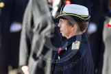 HRH The Princess Royal, saluting in respect after having laid her wreath at the Cenotaph.