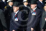 Remembrance Sunday at the Cenotaph in London 2014: Members of the Royal British Legion (?) leading the March Past. Press stand opposite the Foreign Office building, Whitehall, London SW1, London, Greater London, United Kingdom, on 09 November 2014 at 11:37, image #12