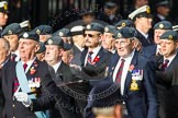 Remembrance Sunday at the Cenotaph in London 2014: Group C2 - Royal Air Force Regiment Association. Press stand opposite the Foreign Office building, Whitehall, London SW1, London, Greater London, United Kingdom, on 09 November 2014 at 11:38, image #62