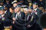 Remembrance Sunday at the Cenotaph in London 2014: Group C2 - Royal Air Force Regiment Association. Press stand opposite the Foreign Office building, Whitehall, London SW1, London, Greater London, United Kingdom, on 09 November 2014 at 11:38, image #75