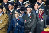 Remembrance Sunday at the Cenotaph in London 2014: Group C4 - Royal Observer Corps Association. Press stand opposite the Foreign Office building, Whitehall, London SW1, London, Greater London, United Kingdom, on 09 November 2014 at 11:38, image #93