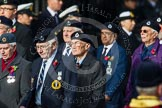 Remembrance Sunday at the Cenotaph in London 2014: Group C4 - Royal Observer Corps Association. Press stand opposite the Foreign Office building, Whitehall, London SW1, London, Greater London, United Kingdom, on 09 November 2014 at 11:38, image #95