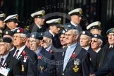 Remembrance Sunday at the Cenotaph in London 2014: Group C5 - National Service (Royal Air Force) Association. Press stand opposite the Foreign Office building, Whitehall, London SW1, London, Greater London, United Kingdom, on 09 November 2014 at 11:39, image #103