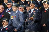 Remembrance Sunday at the Cenotaph in London 2014: Group C5 - National Service (Royal Air Force) Association. Press stand opposite the Foreign Office building, Whitehall, London SW1, London, Greater London, United Kingdom, on 09 November 2014 at 11:39, image #108