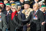 Remembrance Sunday at the Cenotaph in London 2014: Group C19 - Royal Air Forces Ex-Prisoner's of War Association. Press stand opposite the Foreign Office building, Whitehall, London SW1, London, Greater London, United Kingdom, on 09 November 2014 at 11:40, image #166