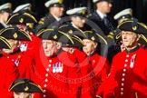 Remembrance Sunday at the Cenotaph in London 2014: Group C26 - Royal Hospital Chelsea. Press stand opposite the Foreign Office building, Whitehall, London SW1, London, Greater London, United Kingdom, on 09 November 2014 at 11:42, image #238