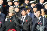 Remembrance Sunday at the Cenotaph in London 2014: Group D2 - Hong Kong Ex-Servicemen's Association (UK Branch). Press stand opposite the Foreign Office building, Whitehall, London SW1, London, Greater London, United Kingdom, on 09 November 2014 at 11:43, image #280