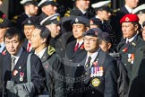 Remembrance Sunday at the Cenotaph in London 2014: Group D2 - Hong Kong Ex-Servicemen's Association (UK Branch). Press stand opposite the Foreign Office building, Whitehall, London SW1, London, Greater London, United Kingdom, on 09 November 2014 at 11:43, image #281