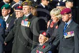 Remembrance Sunday at the Cenotaph in London 2014: Group D4 - Foreign Legion Association. Press stand opposite the Foreign Office building, Whitehall, London SW1, London, Greater London, United Kingdom, on 09 November 2014 at 11:43, image #289