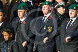 Remembrance Sunday at the Cenotaph in London 2014: Group D18 - Commando Veterans Association. Press stand opposite the Foreign Office building, Whitehall, London SW1, London, Greater London, United Kingdom, on 09 November 2014 at 11:45, image #381