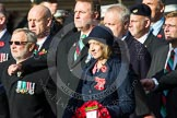 Remembrance Sunday at the Cenotaph in London 2014: Group D19 - South Atlantic Medal Association. Press stand opposite the Foreign Office building, Whitehall, London SW1, London, Greater London, United Kingdom, on 09 November 2014 at 11:45, image #385