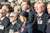 Remembrance Sunday at the Cenotaph in London 2014: Group D19 - South Atlantic Medal Association. Press stand opposite the Foreign Office building, Whitehall, London SW1, London, Greater London, United Kingdom, on 09 November 2014 at 11:46, image #387