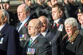 Remembrance Sunday at the Cenotaph in London 2014: Group D19 - South Atlantic Medal Association. Press stand opposite the Foreign Office building, Whitehall, London SW1, London, Greater London, United Kingdom, on 09 November 2014 at 11:46, image #393