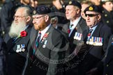Remembrance Sunday at the Cenotaph in London 2014: Group D19 - South Atlantic Medal Association. Press stand opposite the Foreign Office building, Whitehall, London SW1, London, Greater London, United Kingdom, on 09 November 2014 at 11:46, image #399