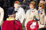 Remembrance Sunday at the Cenotaph in London 2014: Group D21 - First Aid Nursing Yeomanry (Princess Royal's Volunteers Corps). Press stand opposite the Foreign Office building, Whitehall, London SW1, London, Greater London, United Kingdom, on 09 November 2014 at 11:46, image #408