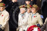 Remembrance Sunday at the Cenotaph in London 2014: Group D21 - First Aid Nursing Yeomanry (Princess Royal's Volunteers Corps). Press stand opposite the Foreign Office building, Whitehall, London SW1, London, Greater London, United Kingdom, on 09 November 2014 at 11:46, image #412