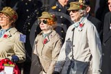 Remembrance Sunday at the Cenotaph in London 2014: Group D21 - First Aid Nursing Yeomanry (Princess Royal's Volunteers Corps). Press stand opposite the Foreign Office building, Whitehall, London SW1, London, Greater London, United Kingdom, on 09 November 2014 at 11:46, image #413