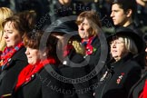 Remembrance Sunday at the Cenotaph in London 2014: Group D24 - War Widows Association. Press stand opposite the Foreign Office building, Whitehall, London SW1, London, Greater London, United Kingdom, on 09 November 2014 at 11:47, image #440