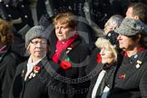 Remembrance Sunday at the Cenotaph in London 2014: Group D24 - War Widows Association. Press stand opposite the Foreign Office building, Whitehall, London SW1, London, Greater London, United Kingdom, on 09 November 2014 at 11:47, image #447