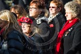 Remembrance Sunday at the Cenotaph in London 2014: Group D24 - War Widows Association. Press stand opposite the Foreign Office building, Whitehall, London SW1, London, Greater London, United Kingdom, on 09 November 2014 at 11:47, image #452