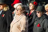 Remembrance Sunday at the Cenotaph in London 2014: Group D24 - War Widows Association. Press stand opposite the Foreign Office building, Whitehall, London SW1, London, Greater London, United Kingdom, on 09 November 2014 at 11:47, image #457