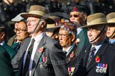 Remembrance Sunday at the Cenotaph in London 2014: Group D25 - Gurkha Brigade Association. Press stand opposite the Foreign Office building, Whitehall, London SW1, London, Greater London, United Kingdom, on 09 November 2014 at 11:47, image #471