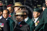 Remembrance Sunday at the Cenotaph in London 2014: Group D25 - Gurkha Brigade Association. Press stand opposite the Foreign Office building, Whitehall, London SW1, London, Greater London, United Kingdom, on 09 November 2014 at 11:47, image #472
