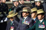 Remembrance Sunday at the Cenotaph in London 2014: Group D26 - British Gurkha Welfare Society. Press stand opposite the Foreign Office building, Whitehall, London SW1, London, Greater London, United Kingdom, on 09 November 2014 at 11:47, image #478