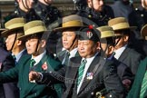 Remembrance Sunday at the Cenotaph in London 2014: Group D26 - British Gurkha Welfare Society. Press stand opposite the Foreign Office building, Whitehall, London SW1, London, Greater London, United Kingdom, on 09 November 2014 at 11:47, image #479