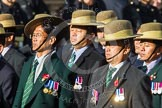 Remembrance Sunday at the Cenotaph in London 2014: Group D26 - British Gurkha Welfare Society. Press stand opposite the Foreign Office building, Whitehall, London SW1, London, Greater London, United Kingdom, on 09 November 2014 at 11:47, image #480