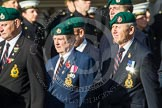 Remembrance Sunday at the Cenotaph in London 2014: Group E1 - Royal Marines Association. Press stand opposite the Foreign Office building, Whitehall, London SW1, London, Greater London, United Kingdom, on 09 November 2014 at 11:49, image #549