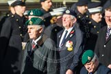 Remembrance Sunday at the Cenotaph in London 2014: Group E1 - Royal Marines Association. Press stand opposite the Foreign Office building, Whitehall, London SW1, London, Greater London, United Kingdom, on 09 November 2014 at 11:49, image #552