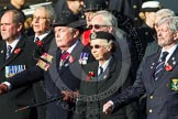 Remembrance Sunday at the Cenotaph in London 2014: Group E1 - Royal Marines Association. Press stand opposite the Foreign Office building, Whitehall, London SW1, London, Greater London, United Kingdom, on 09 November 2014 at 11:49, image #555