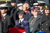 Remembrance Sunday at the Cenotaph in London 2014: Group E3 - Merchant Navy Association. Press stand opposite the Foreign Office building, Whitehall, London SW1, London, Greater London, United Kingdom, on 09 November 2014 at 11:50, image #591