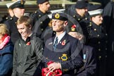 Remembrance Sunday at the Cenotaph in London 2014: Group E3 - Merchant Navy Association. Press stand opposite the Foreign Office building, Whitehall, London SW1, London, Greater London, United Kingdom, on 09 November 2014 at 11:50, image #611