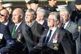 Remembrance Sunday at the Cenotaph in London 2014: Group E4 - Fleet Air Arm Armourers Association. Press stand opposite the Foreign Office building, Whitehall, London SW1, London, Greater London, United Kingdom, on 09 November 2014 at 11:50, image #619
