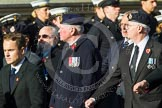 Remembrance Sunday at the Cenotaph in London 2014: Group E5 - Fleet Air Arm Association. Press stand opposite the Foreign Office building, Whitehall, London SW1, London, Greater London, United Kingdom, on 09 November 2014 at 11:50, image #631