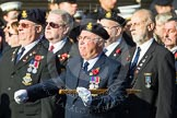 Remembrance Sunday at the Cenotaph in London 2014: Group E17 - HMS Ganges Association. Press stand opposite the Foreign Office building, Whitehall, London SW1, London, Greater London, United Kingdom, on 09 November 2014 at 11:51, image #695