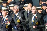 Remembrance Sunday at the Cenotaph in London 2014: Group E20 - HMS Tiger Association. Press stand opposite the Foreign Office building, Whitehall, London SW1, London, Greater London, United Kingdom, on 09 November 2014 at 11:52, image #721